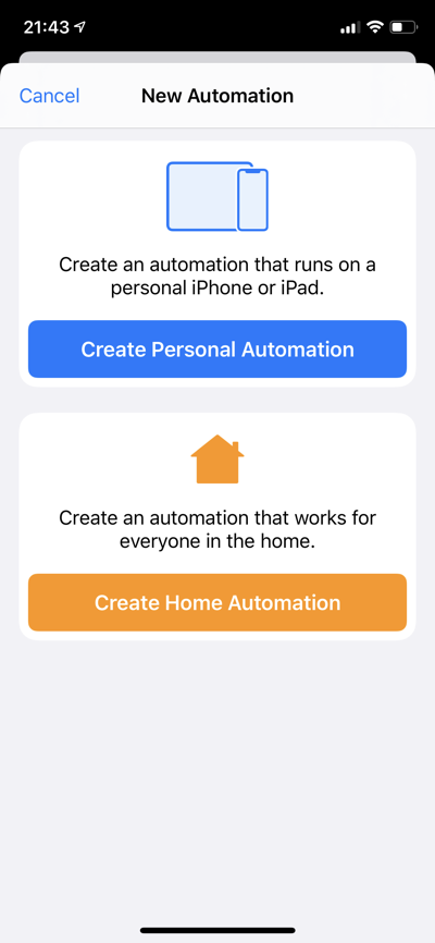 Choose automation type
